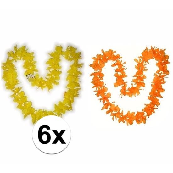 Geen Hawaii bloemenkransen pakket oranje geel 6 stuks Hawaii feestartikelen