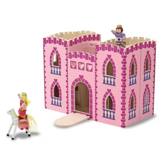 Houten kinder kasteel roze met accessoires