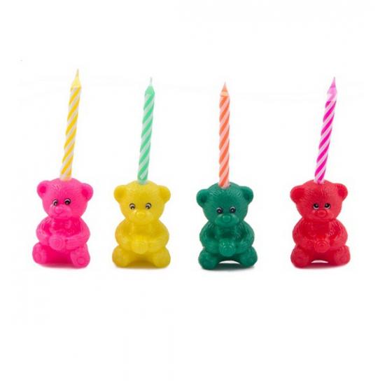 Geen Kaarsenset beer vorm 4 stuks Kinderfeestjes