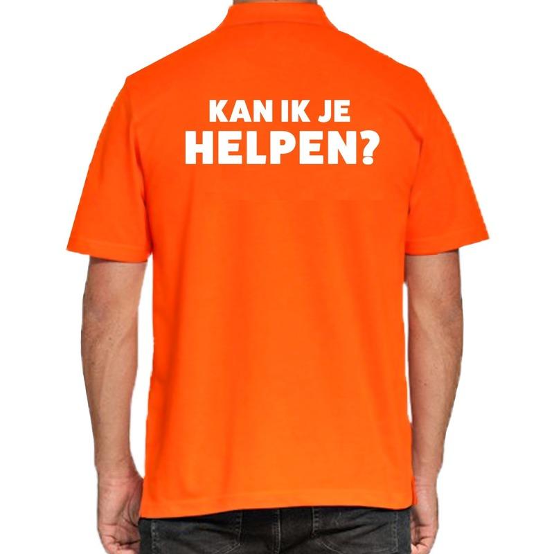 Kan ik je helpen beurs-evenementen polo shirt oranje voor heren