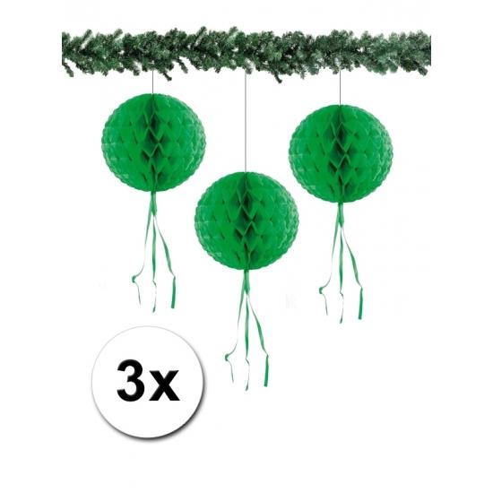 Kerst hangdecoratie bal groen 30 cm