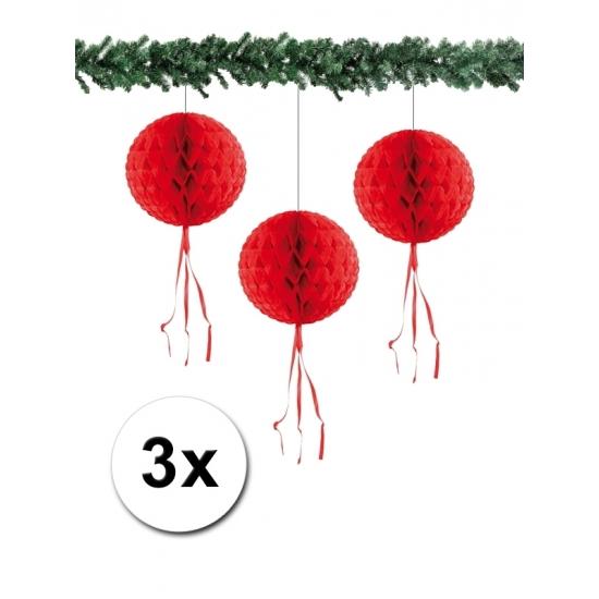 Kerst hangdecoratie bal rood 30 cm