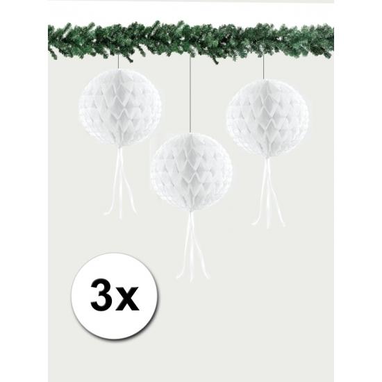 Kerst hangdecoratie bal wit 30 cm