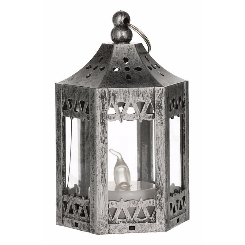 Geen Kerst mat zilveren lantaarn met LED theelichtje 10 cm Kerst feestartikelen
