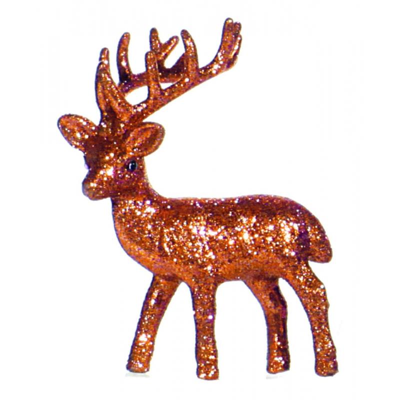 Kerst oranje rendier vensterbank versiering 10 cm