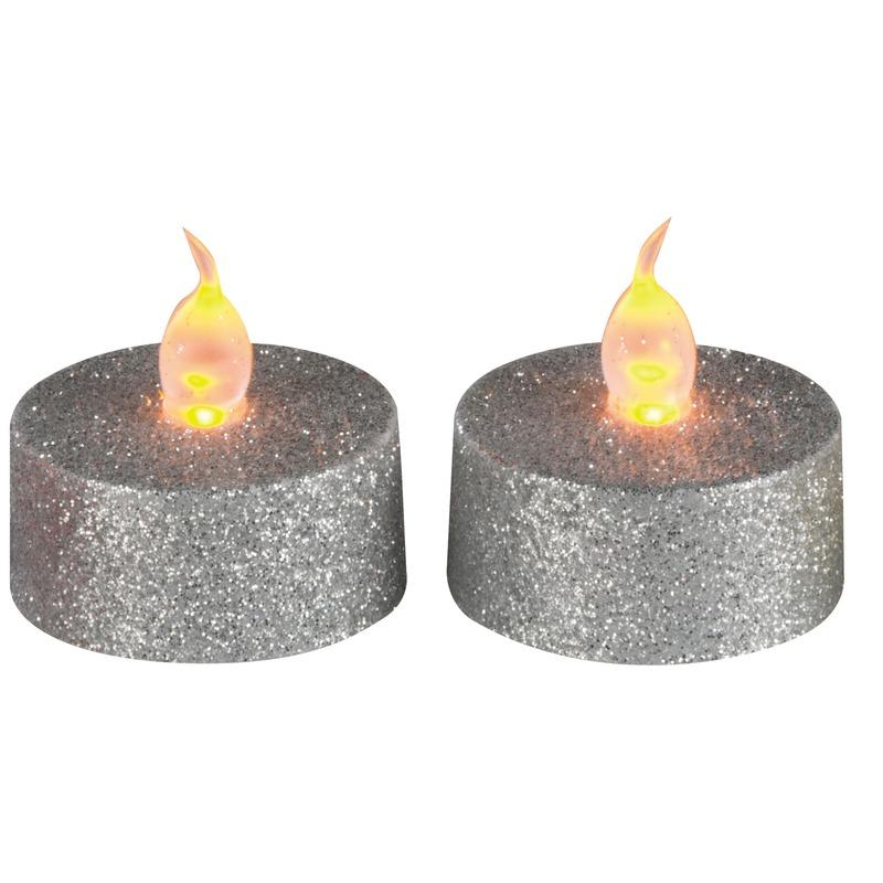 Woonaccessoires Geen Kerst waxine led lichtjes zilver 2 stuks