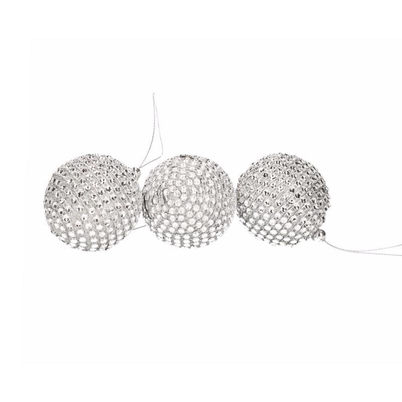 Kerstboom decoratie zilveren kerstballen met steentjes 6 stuks