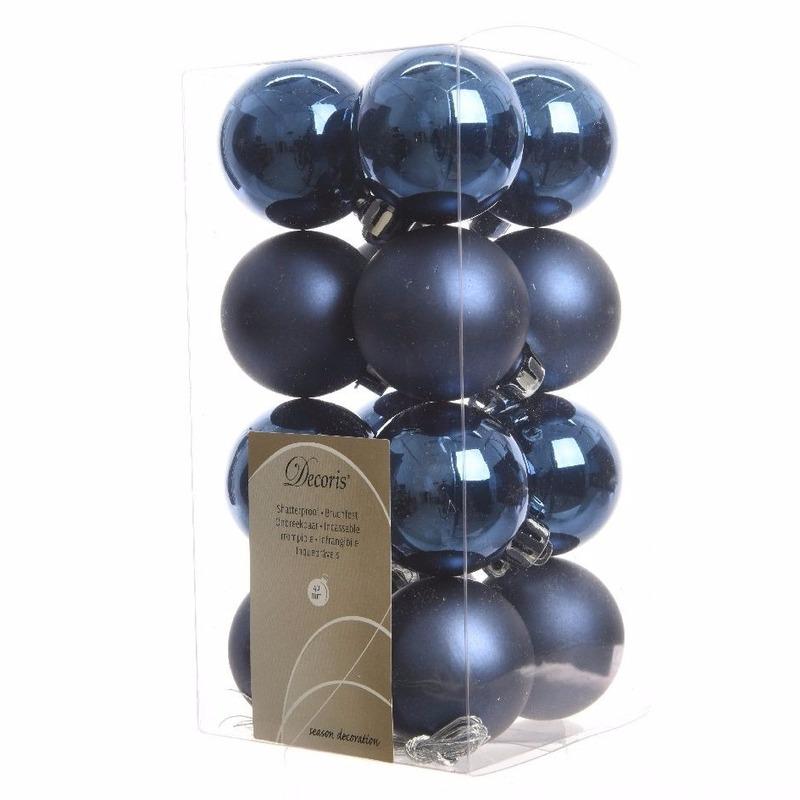 Kerstboomversiering blauwe ballen 4 cm