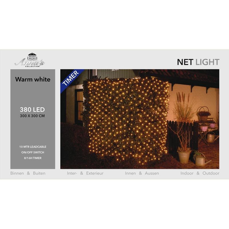 Kerstverlichting lichtnet met timer 384 lampjes warm wit 3 x 3 m