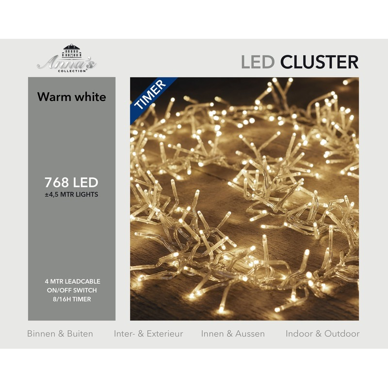 Kerstverlichting lichtsnoer met timer 768 lampjes warm wit 4,5 m