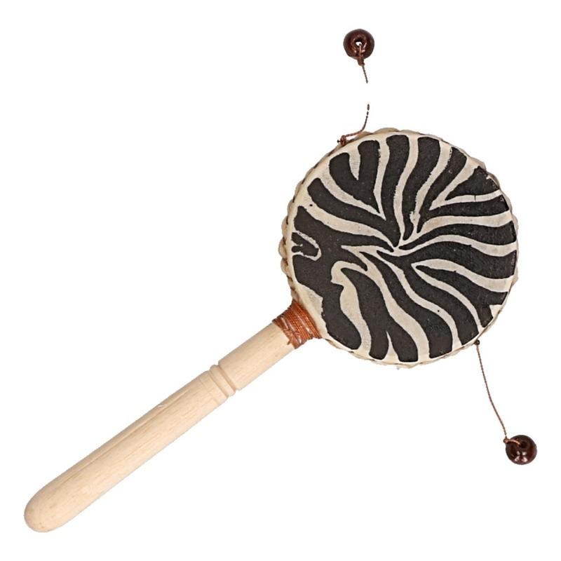 Kinderspeelgoed damru zebra 20 cm