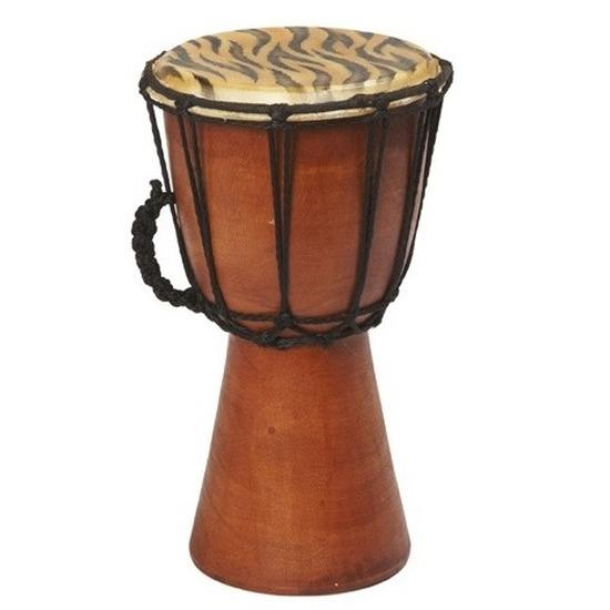 Kinderspeelgoed houten drum tijger print 25 cm