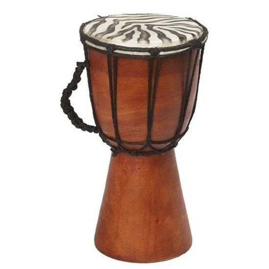 Kinderspeelgoed houten drum zebraprint 25 cm