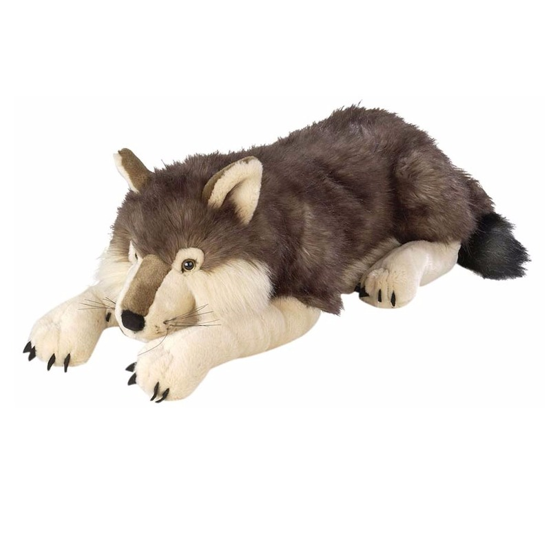Knuffel wolf liggend 76 cm