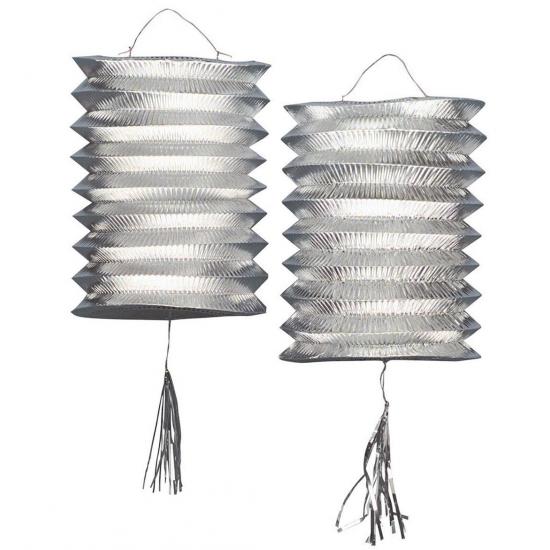 Feestartikelen diversen Geen Lampion zilver 2 stuks 25 cm