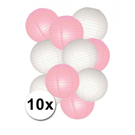 Feestartikelen diversen Shoppartners Lampionnen versiering set roze wit
