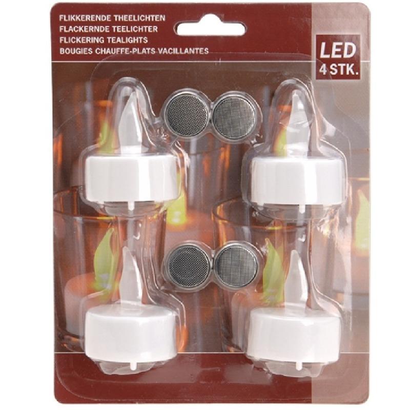 Geen LED witte flakkerende theelichtjes setje van 4 stuks Woonaccessoires