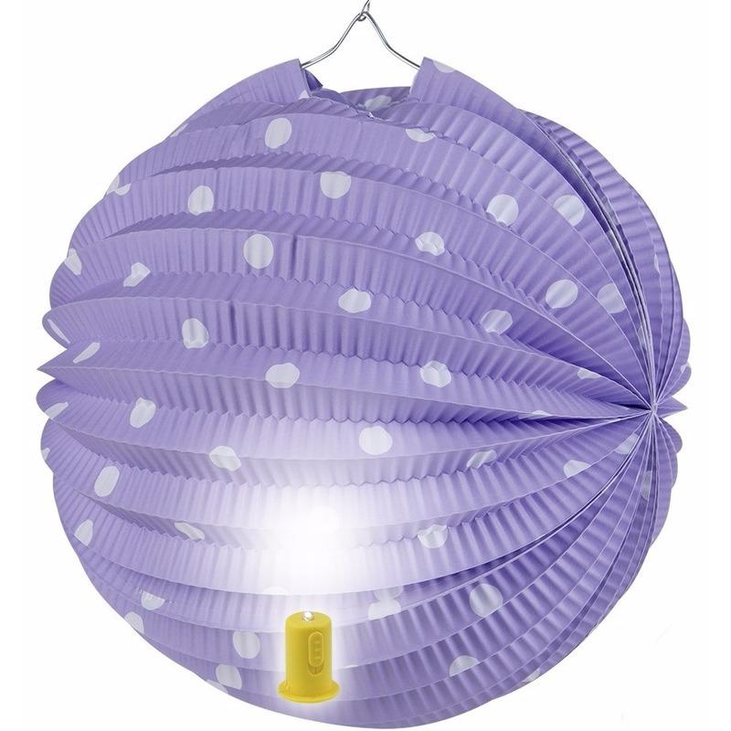 Lila lampion met witte stippen 20 cm Geen Feestartikelen diversen