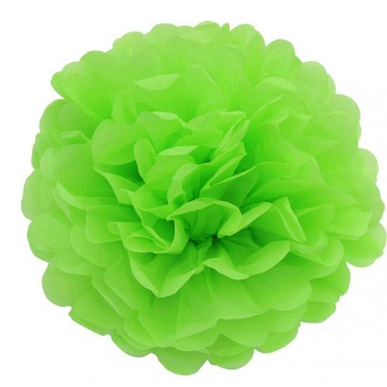 Lime groene pompom versiering 25 cm Geen Kleuren versiering
