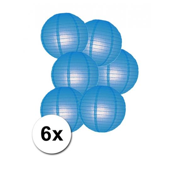 Geen Luxe ronde lampionnen blauw 6x Feestartikelen diversen