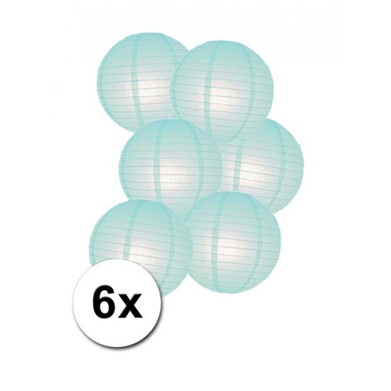 Luxe ronde lampionnen mint 6x Geen Feestartikelen diversen