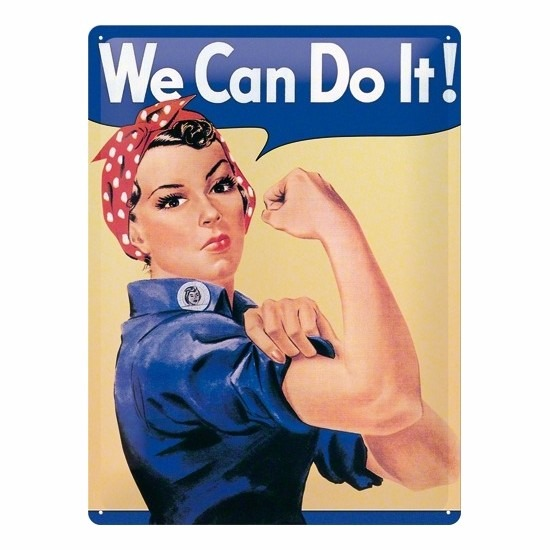 Metalen decoratie plaat we can do it feminisme