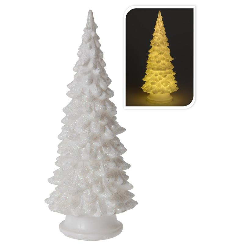 Kerst feestartikelen Geen Mini LED kunst glitter kerstboompje 20 cm