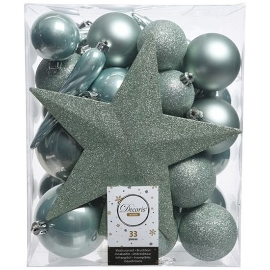 Mintgroene kerstballen set inclusief piek