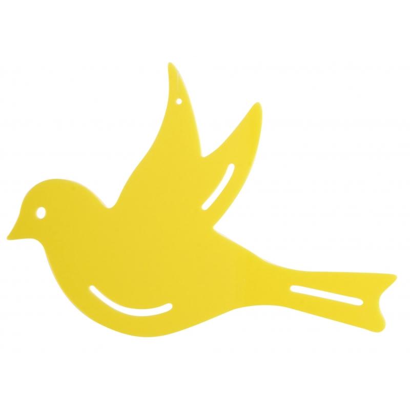 Muurdecoratie vogel geel 22 cm
