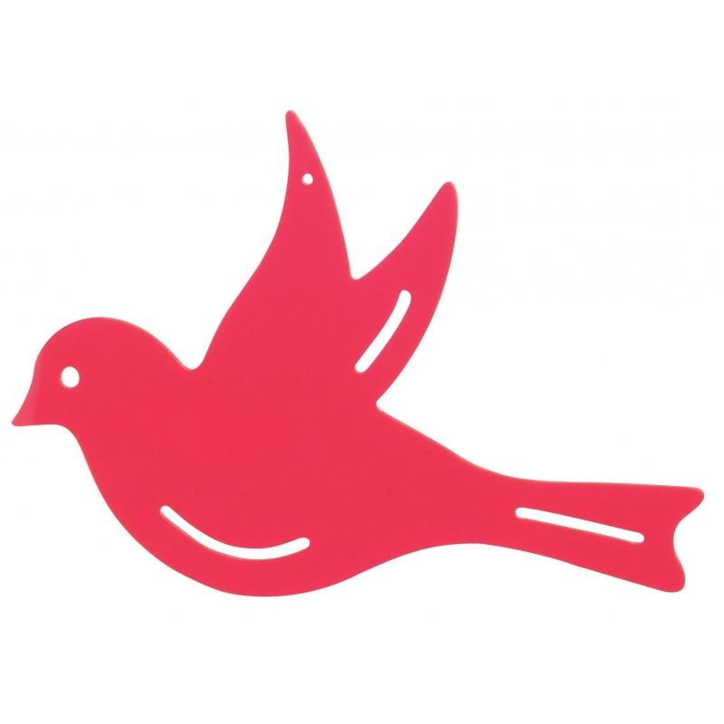 Muurdecoratie vogel roze 25 cm