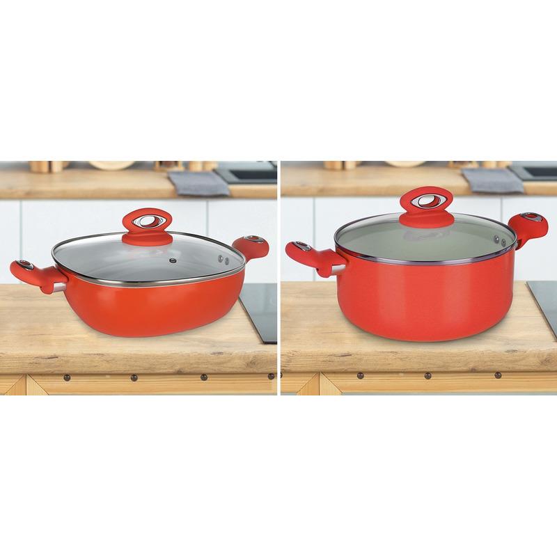 Oranje serveerpan en een oranje kookpan met glazen deksels pannenset