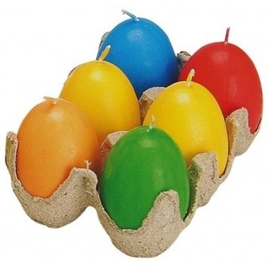 Thema feestartikelen Geen Paas thema eier kaarsen 6 stuks