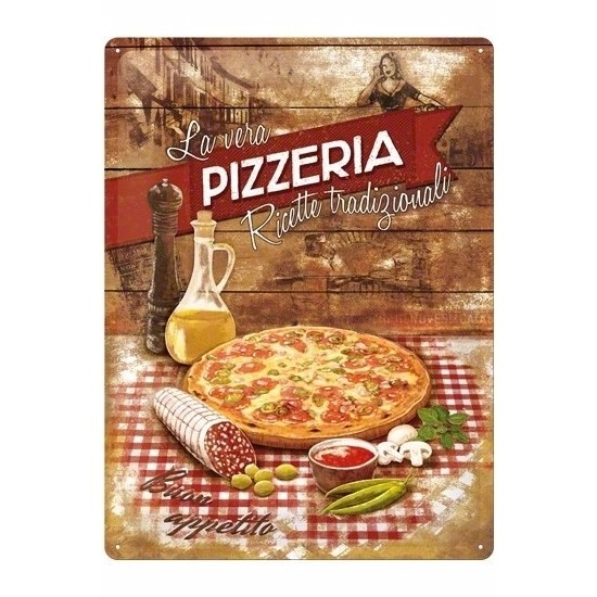 Pizza decoratie metalen bord 30 x 40 cm