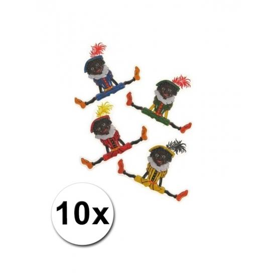 Plastic Sinterklaasversiering Pieten 10 stuks