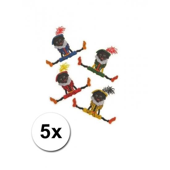Plastic Sinterklaasversiering Pieten 5 stuks
