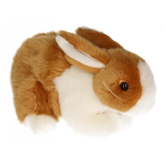 Pluche konijnen knuffel bruin-wit 20 cm