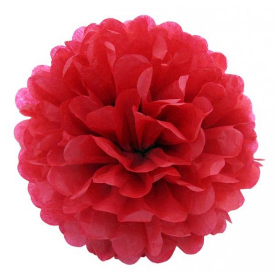 Rode pompom versiering 25 cm Geen Geweldig