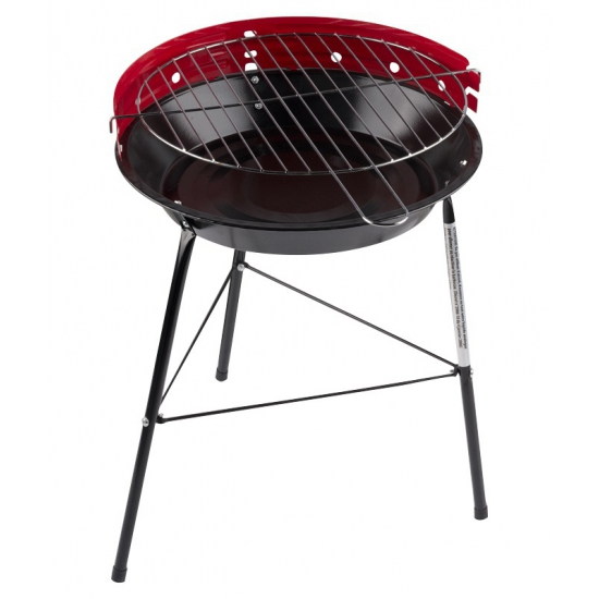 Ronde houtskool barbecue-bbq grill rood