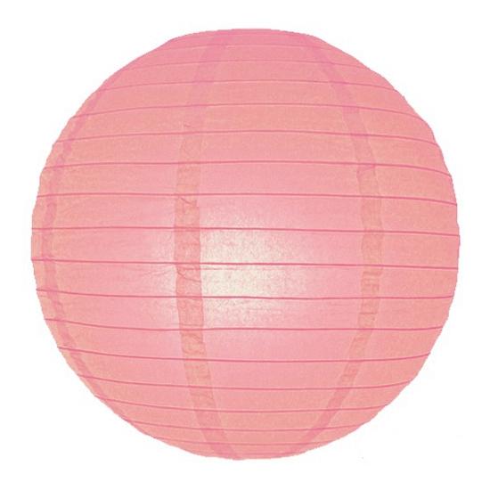 Feestartikelen diversen Geen Roze ronde lampion 25 cm