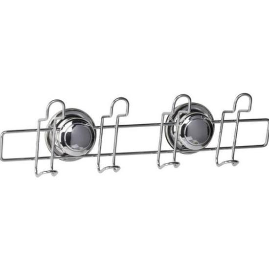 RVS wandrek-badkamerrek met 4 haken