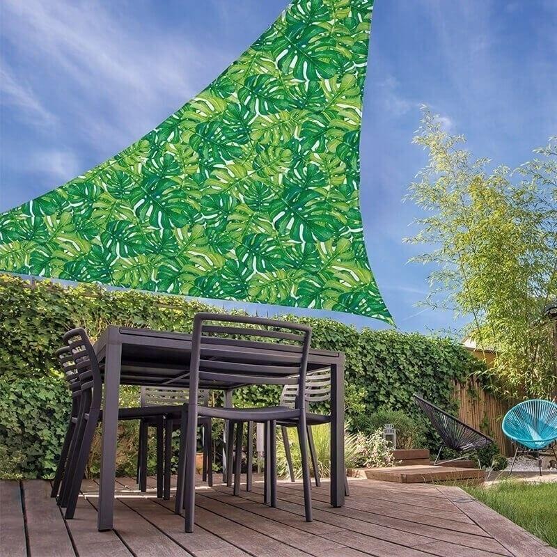 Schaduwdoek-zonnescherm driehoek bladeren 3,6 meter