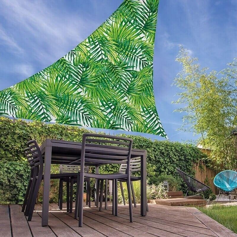 Schaduwdoek-zonnescherm driehoek palmbladeren 3,6 x 3,6 meter