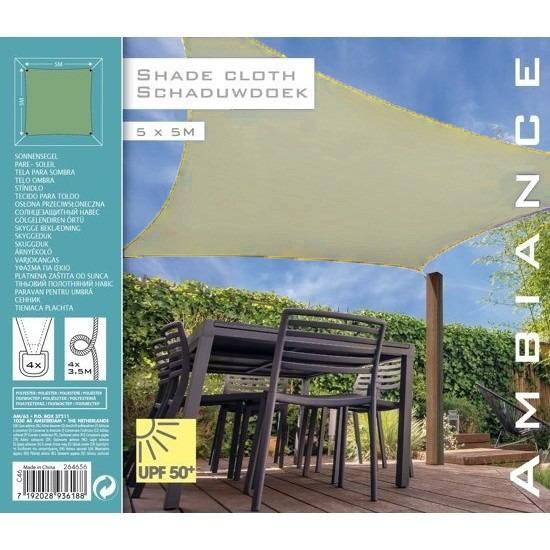 Schaduwdoek-zonnescherm vierkant groen 5 meter