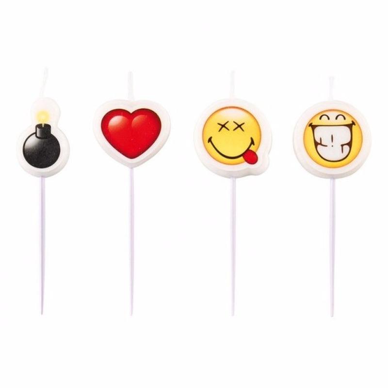 Thema feestartikelen Geen Smiley emoticons kaarsjes 4 stuks