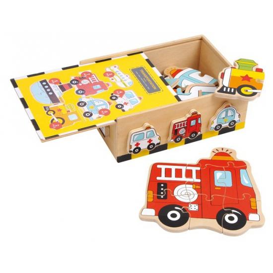 Speelgoed puzzels in houten box 6 stuks