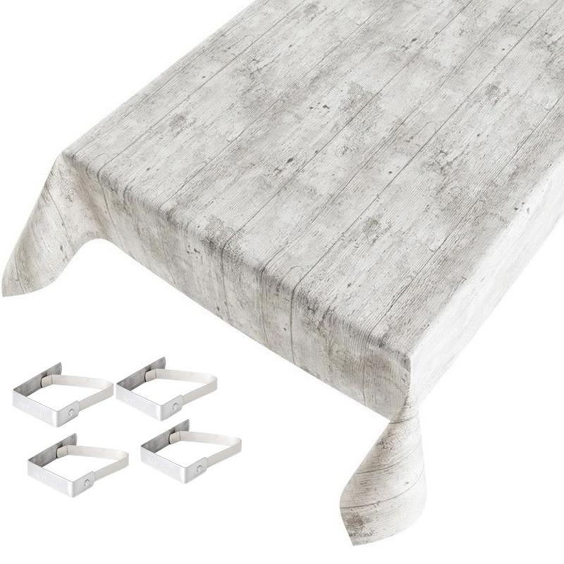 Tafelkleed-tafelzeil grijs houtprint 140 x 170 cm met 4 klemmen