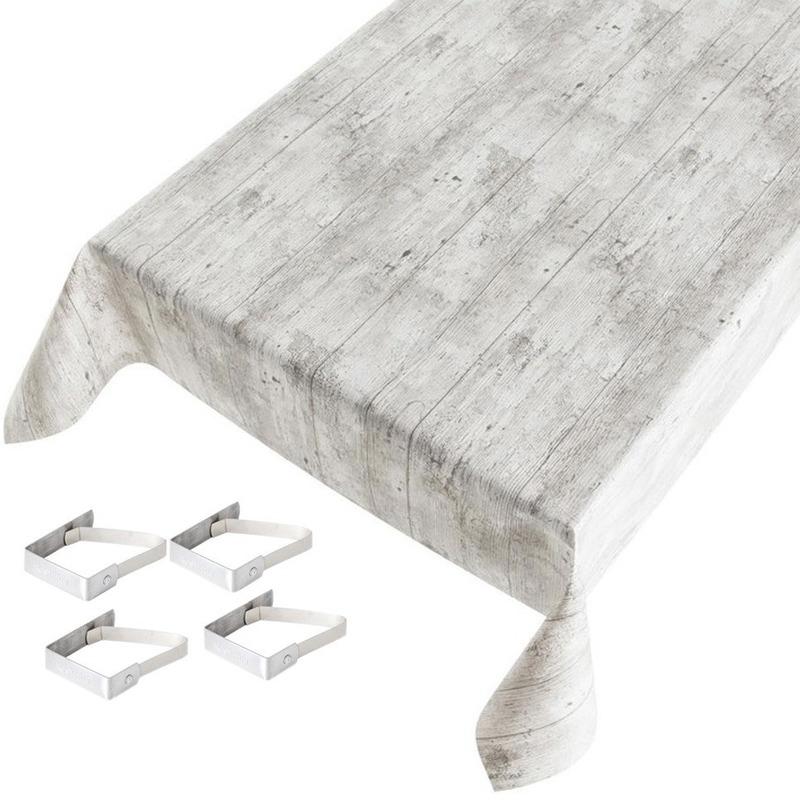 Tafelkleed-tafelzeil grijs houtprint 140 x 245 cm met 4 klemmen