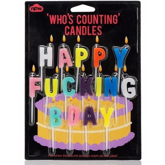 Verjaardagskaarsjes Happy Fucking Bday Geen te koop