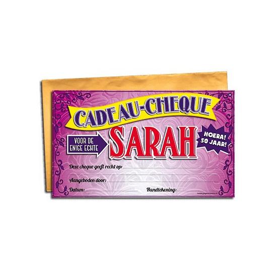 Voor de Sarah gift cheque Geen goedkoop online kopen