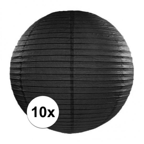 Geen Voordeelverpakking met 10x zwarte lampionnen 35 cm Feestartikelen diversen